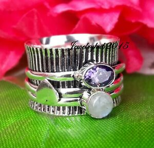 Moonstone Spinner Ring 925 Sterling Silver Ring Beatiful Ring Size 5.5 SA3240
