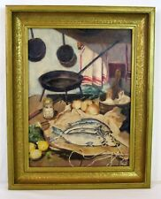Vintage Original Berks County PA Still Life Oil Painting Cast Iron Pans, Fish, L