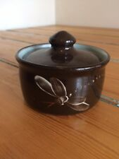 Vintage Fishley Holland lidded trinket pot in brown and green with dragonfly