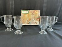 Holiday Gold Indiana Glass 4 PC 8 Oz Holiday Mug Set Trimmed with 16kt Gold *333