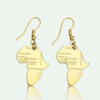 AM_ Vintage Women Africa Map Dangle Drop Hook Hoop Earrings Piercing Jewelry Mys
