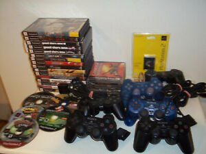 Mixed Lot Playstation Dualshock Controllers PS2 Games Memory Cards Untested
