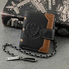 Skull Man ID Card/Momey Clip Biker Leather Wallet with chain For Men