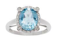 10k White Gold Oval 3.15ct Blue Topaz and Diamond Halo Ring (G-H, I1-I2)