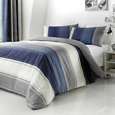 Fusion Betley Classis Wide Stripe Double Duvet Cover Set - Blue