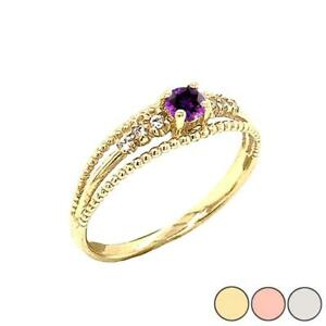 Gold  Genuine Amethyst and Diamond Modern Engagement/Promise Ring
