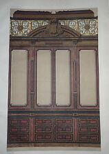 GRANDE Litho COULEUR MAGASIN BOISERIES DECORATION ORNEMENT 1880 NAPOLÉON III