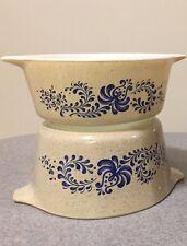 Lot 2 Pyrex Casserole Dishes (472, 473)  Blue Tan Homestead