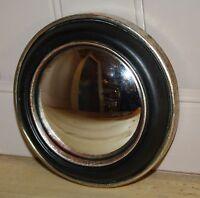 """Glace / Miroir dit """"oeil de sorcière"""" Diam 14 cm noir, contour argenté et cuivré"""
