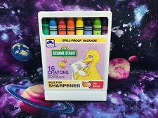 Sesame Street 16 Crayons Set Golden 1989 Children's Television Workshop Crafts