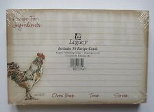 Rooster 27647 50 Lined Recipe Cards card 4x6 Legacy paper Bridal shower gift nip