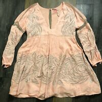 Free People Embroidered V Neck Long Sleeve Mini Dress Dusty Pink XS UK 6 New