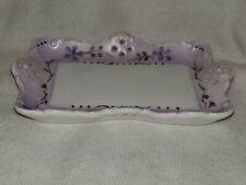 "Hand Painted Trinket Tray Dish Purple Flowers Ceramic Decorative 5"""