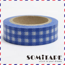 Blue Check Gingham Pattern Washi Tape, Craft Decorative Tape
