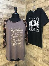 Country Music Names Shirts Lot of 2 Women's Sz L Johnny-Merle-Willie-Waylon-Hank
