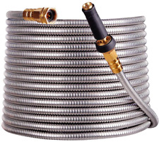 Scriptrac Stainless Steel Garden Hose With Free Removable Brass Nozzle 250ft