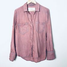 BELLA DAHL rose button down tab sleeve split back small