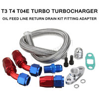 Turbo Braided Oil Feed Line Return Drain Kit For T3 T4 T04E Turbo  ✔☆