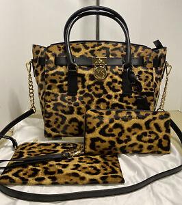 Michael Kors Hamilton Leopard Calf Hair Satchel, Travel Wallet & Wristlet Set