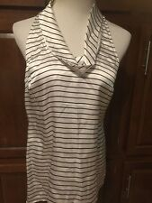 White House| Black Market Stripe 100%  Silk Blouse Size Small AZ-609