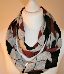 Mens knitted soft touch multi coloured check snood BNWOT