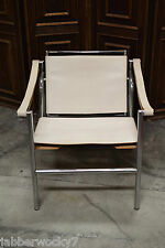 Vintage LC1 Basculant Style Chrome & Leather Sling Armchair, After Le Corbusier