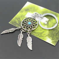 Fashion Charm Silver Metal Feather Tassels Key Chain Ring Dream Catcher Keyring
