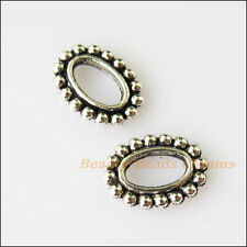 20Pcs Antiqued Silver Tone Oval Circle Spacer Beads Charms 9x12.5mm