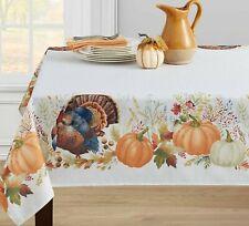 "Printed Linen Tablecloth 60x""120 Oblong,THANKFUL TURKEY &PUMPKIN,THANKSGIVING,BM"