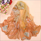 New Fashion Women's Printed Flower Soft Silk Chiffon Neck Scarf Wrap Shawl Stole