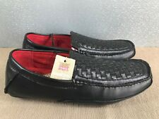 BNWT Mens Teenage Boys Size 8.5 Rivers Black Slip on Leather Dress Casual Shoes