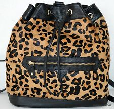 Aqua Madonna Backpack Bag Purse Handbag  Black/Leopard Leather Calf Hair NWT