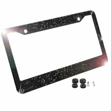 Zone Tech Metal License Plate Frame Bling Rhine Stones Black Crystal Diamond