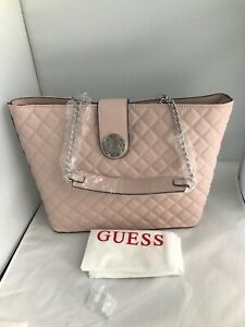 Guess Signature Ladies Designer New Satchel carryall handbag Pink HWLG7366230
