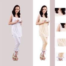 Damen Pyjama zweiteiliger Schlafanzug set aus ärmellosem Pyjama-Set Top Spitze