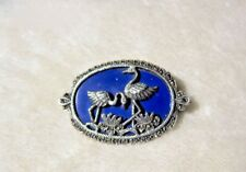 Estate 40s-60s Ster marcasite blue BROOCH PIN: 2 FLAMINGOS Lotus /Lapis? Enamel?
