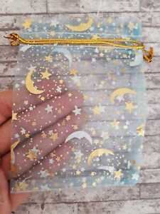 Blue Star Moon Organza Bags x5 Small 9 x 12 Gift Pouches Jewellery Wedding Party