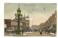 Harlesden - Jubilee Clock, shops, horse carriages - 1905 used Middlesex postcard