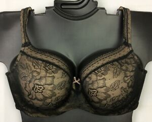 Balconette BLACK Modern Lace Lightly Lined Cacique Lane Bryant  Bra New 244398