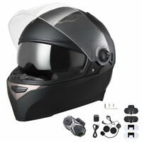 AHR DOT Full Face Motorcycle Sport Racing Helmet Dual Visors Bluetooth Headset L