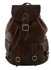 Moroccan Handmade Leather Backpack College Bag Hiking  Carry On Bag Chocolate