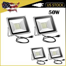 4X 50W LED Flood Light Garden Path Outdoor Wash Lamp w/ US Plug 110V Cool White
