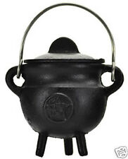 Small Lidded Pentagram Cast Iron Cauldron!