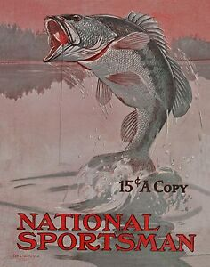 Largemouth Bass Magazine Cover Art Print Vintage Fishing Lures Cabin Wall Decor