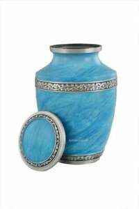Blue Funeral Cremation Urn For Human Ashes For Cemetery Burial Large Size Fits