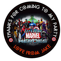 """30 x Personalised super hero,marvel hero 50mm 2"""" Stickers Party thank you labels"""