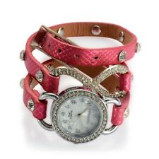 STRADA Watch Womens Wrap Band Faux Leather Rose Red