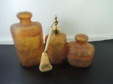 Gorgeous Vintage French Marcel Franck amber Crackle Glass Atomizer-jar-box-set