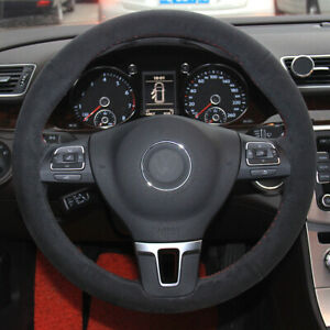 Black Suede Car Steering Wheel Cover for Volkswagen VW Golf Tiguan Passat B7 MK6