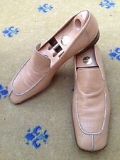 Miu Miu by Prada Mens Shoes Tan Brown Leather Loafers UK 10 US 11 EU 44